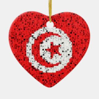 Tunisia Flag glitter ornament