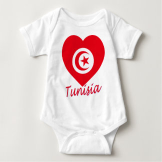 Tunisia Flag Heart Baby Bodysuit