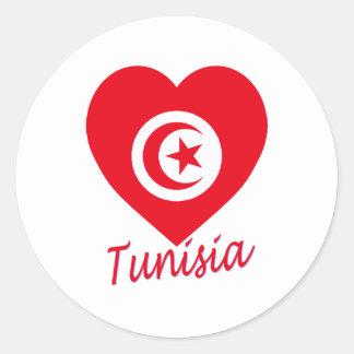 Tunisia Flag Heart Classic Round Sticker