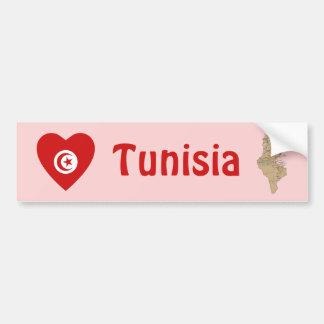 Tunisia Flag Heart + Map Bumper Sticker