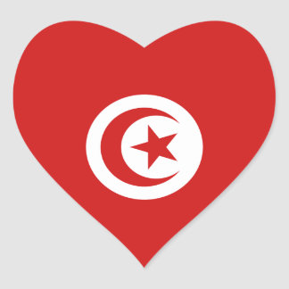 Tunisia Flag Heart Sticker