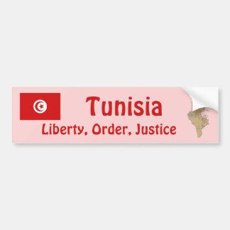 Tunisia Flag + Map Bumper Sticker