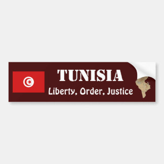 Tunisia Flag + Map Bumper Sticker