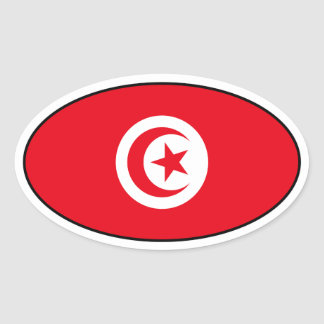 Tunisia Flag Oval Sticker