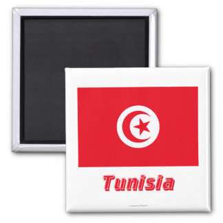 Tunisia Flag with Name Square Magnet