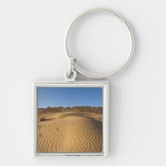 Tunisia, Ksour Area, Ksar Ghilane, Grand Erg 2 Silver-Colored Square Key Ring