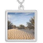 Tunisia, Sahara Desert, Douz, Great Dune, palm 2 Square Pendant Necklace