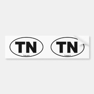 Tunisia TN Oval ID Identification Code Initials Bumper Sticker