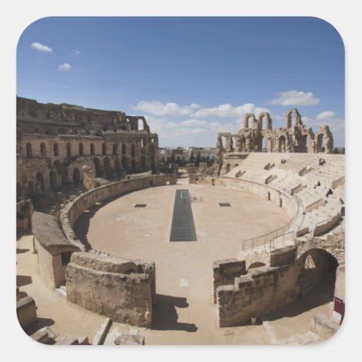 Tunisia, Tunisian Central Coast, El Jem, Roman 6 Square Stickers