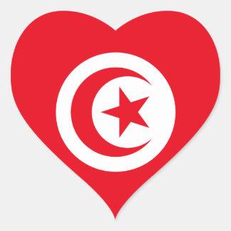 Tunisia/Tunisian Flag Heart Sticker