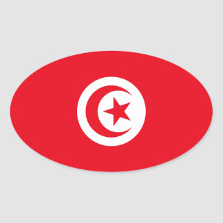 Tunisia/Tunisian Flag Oval Sticker