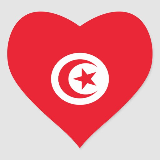 Tunisia/Tunisian Heart Flag Heart Sticker