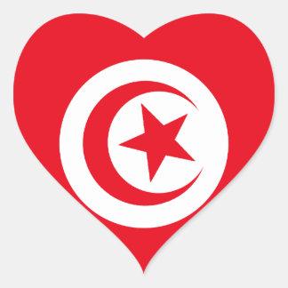 Tunisian Flag Heart Stickers