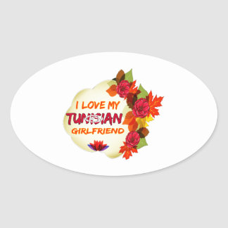 Tunisian girlfriends designs oval sticker