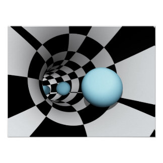 Tunnel Checkered Abstract Poster