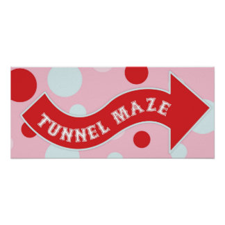 Tunnel Maze Arrow Sign Carnival Circus Birthday RT Poster