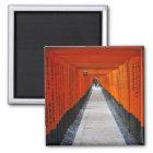 Tunnel of red shrine gates at Fushimi Inari, Kyoto Magnet