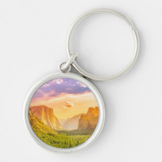 Tunnel View of Yosemite National Park Silver-Colored Round Key Ring