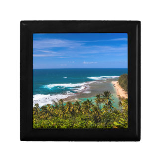 Tunnels Beach as seen from the Kalalau Trail Small Square Gift Box