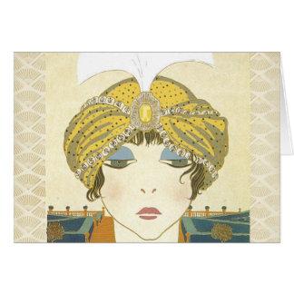 Turbaned Poiret 1900s Fashion Illustration Card