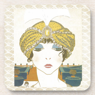 Turbaned Poiret 1900s Fashion Illustration Drink Coasters