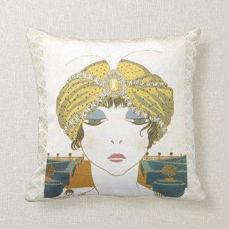 Turbaned Poiret 1900s Fashion Illustration Cushion