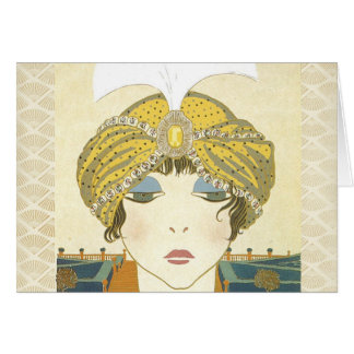 Turbaned Poiret 1900s Fashion Illustration Greeting Card