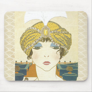 Turbaned Poiret 1900s Fashion Illustration Mousepads