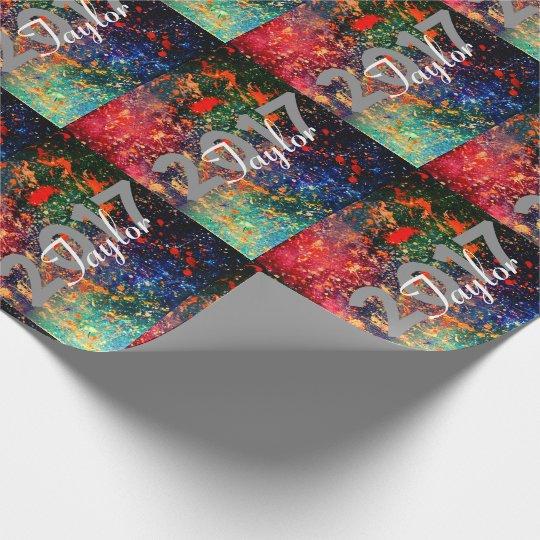 Turbulence Grad | Custom Year Rainbow Splatter | Wrapping Paper