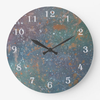 Turbulent Decor Monogram Muted Rainbow Splatter Large Clock