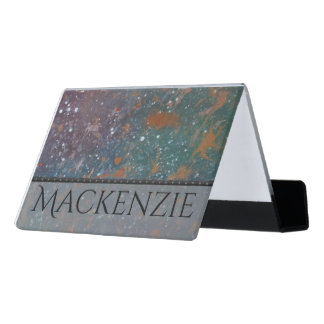 Turbulent Desk   Name Mottled Splatter Abstract Desk Business Card Holder