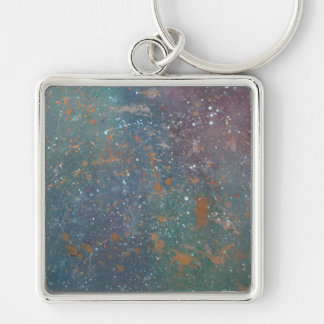 Turbulent Faded Worn Rainbow Splatter Abstract Silver-Colored Square Key Ring