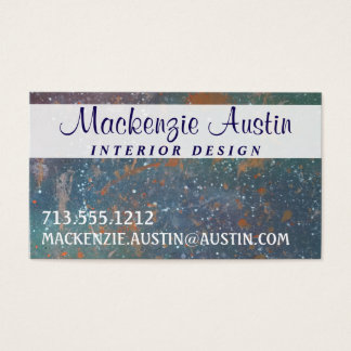 Turbulent Worn Monogram Faded Rainbow Splatter Business Card
