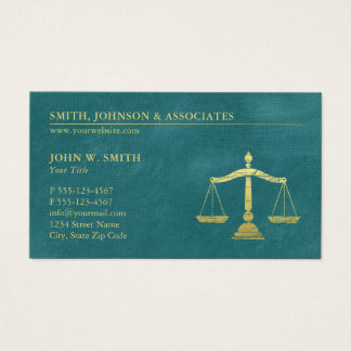 Turcuoise Lawyer Scales of Justice Gold effect Business Card