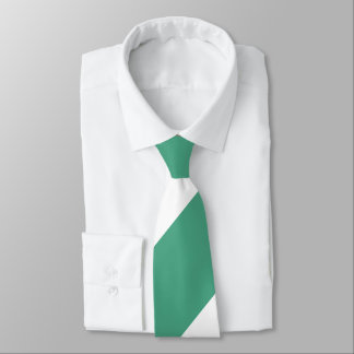 Turf Green and White Broad Regimental Stripe Tie