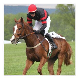 "Turf Horse Race Invitations 5.25"" Square Invitation Card"
