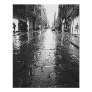 Turin Italy, Wet Street Evening Poster
