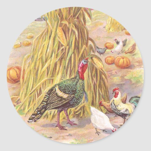 Turkey and Flock of Chickens Vintage Thanksgiving Sticker