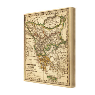 Turkey and Greece Map Canvas Print