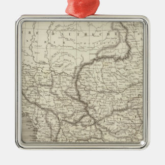 Turkey and Greece map Silver-Colored Square Decoration
