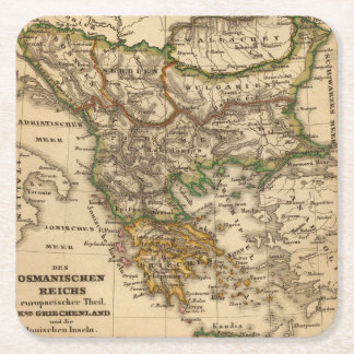 Turkey and Greece Map Square Paper Coaster