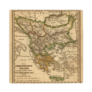Turkey and Greece Map Wood Coaster