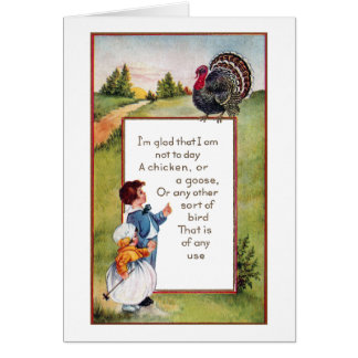 Turkey and Kids Vintage Thanksgiving Card