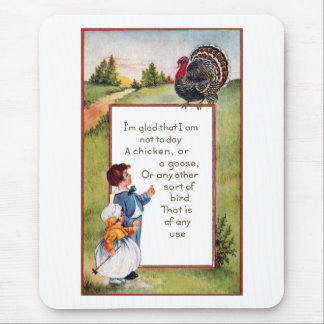 Turkey and Kids Vintage Thanksgiving Mouse Pad