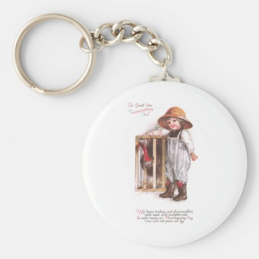 Turkey and Plum-Pudding Vintage Thanksgiving Key Chains