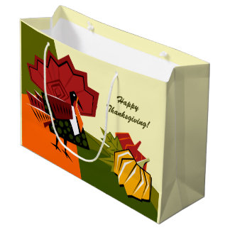 Turkey and Pumpkin Design Thanksgiving Gift Bags