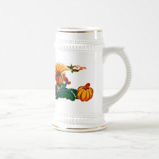 Turkey and Pumpkin .Thanksgiving Beer Mug