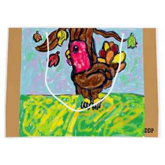turkey art large gift bag