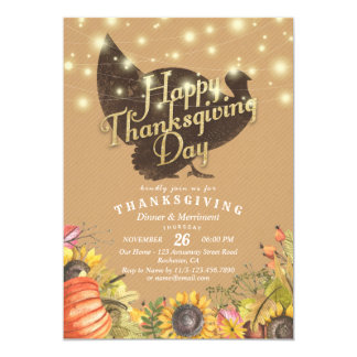 Turkey Autumn Leaves Thanksgiving Dinner Party Card