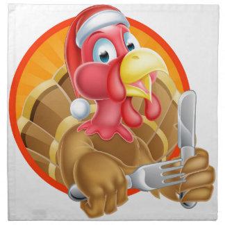 Turkey Bird in Santa Hat Holding Knife and Fork Printed Napkin